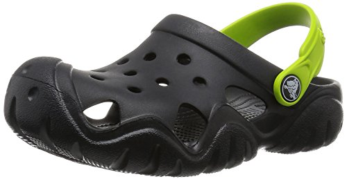 Crocs Swiftwater Clog Kids, Unisex - Kinder Clogs, Schwarz (Black/Volt Green), 24/25 EU