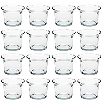Tebery 2.5 Inches Clear Glass Oyster Tea Light Holders Candle Holders for Wedding, Birthday, Holiday & Home Decoration -Set of 16