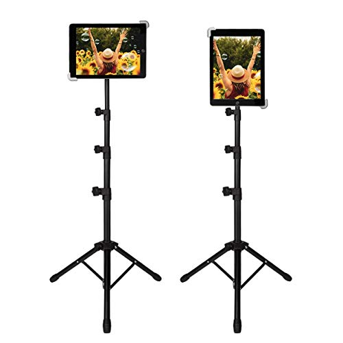 Tablet Tripod Stand, Foldable Height Adjustable 20 To 60 Inch Floor Tablet Stand with 360°Rotating Holder Mount for All 9-14 Inch Tablets, Carrying Case Included