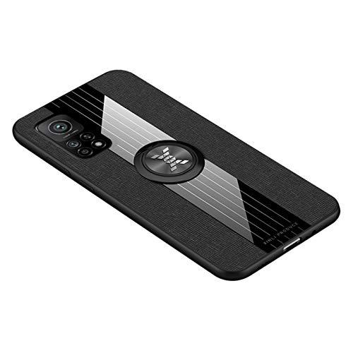 Preisvergleich Produktbild GOGME Hülle für Xiaomi Mi 10T / Mi 10T Pro,  360 Grad Ring Stand [Kompatible Magnetische Autohalterung] Schutzhülle,  [TPU Rahmen] Handyhülle,  Stoff - Backcover Cover Canvas Design. Schwarz