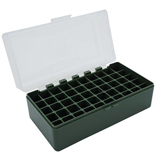 Waffenpflegewelt WPW Patronenbox aus robustem Kunstoff mit Klappdeckel für Kaliber .223 Rem, 5,56 mm NATO.17.222 Rem - 50 Patronen – grün