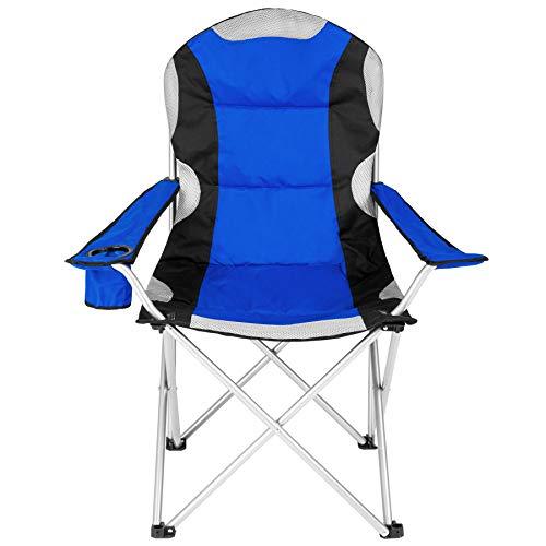 TecTake Silla de Camping Plegable + Portabebidas + Práctica Bolsa de Transporte Marco Ø: Unos 19 mm Varias cantidades - (Azul - 2 Piezas | No. 401300)