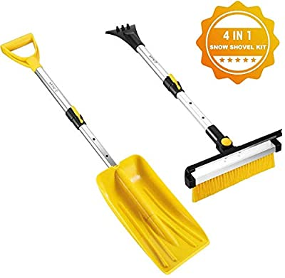 ISILER Extendable 4 in 1 Snow Removal Kit with Snow Shovel, Ice Scraper, Snow Brush and Squeegee for Cars Trucks