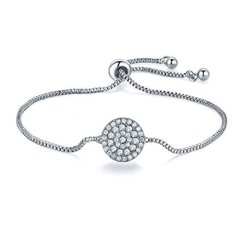 Isijie Jewelry - Pulsera Ajustable de Plata de Ley con circonitas cúbicas para Mujer