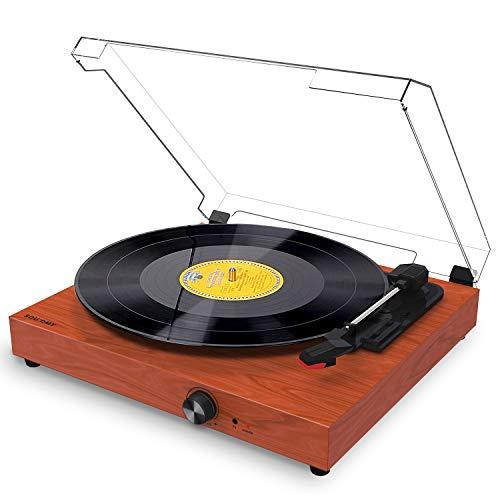 mejores Tocadiscos de vinilo Souidmy Tocadiscos Bluetooth para Discos de Vinilo, con Altavoces, 3 Velocidades, Puerto AUX/Auriculares/RCA, Diseño Vintage con Dubierta Antipolvo.
