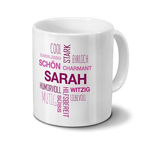 printplanet Tasse mit Namen Sarah Positive Eigenschaften Tagcloud - Pink - Namenstasse, Kaffeebecher, Mug, Becher, Kaffeetasse