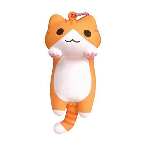 Hamee Niconico Nekomura Cat Cute Squishy Toy, Keychain, Phone Accessory (Chatora Cat, Brown, 3.5 Inch) [Kawaii Squishies for Party Favors, Stress Balls, Birthday Gifts for Kids, Girls, Boys, Adults]