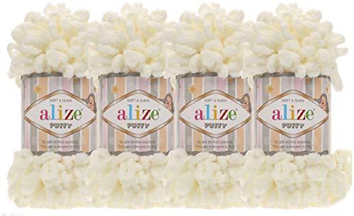 4 skn/Ball Alize - Ovillo de lana para bebé (100% micropoliéster, 400 g), color crema