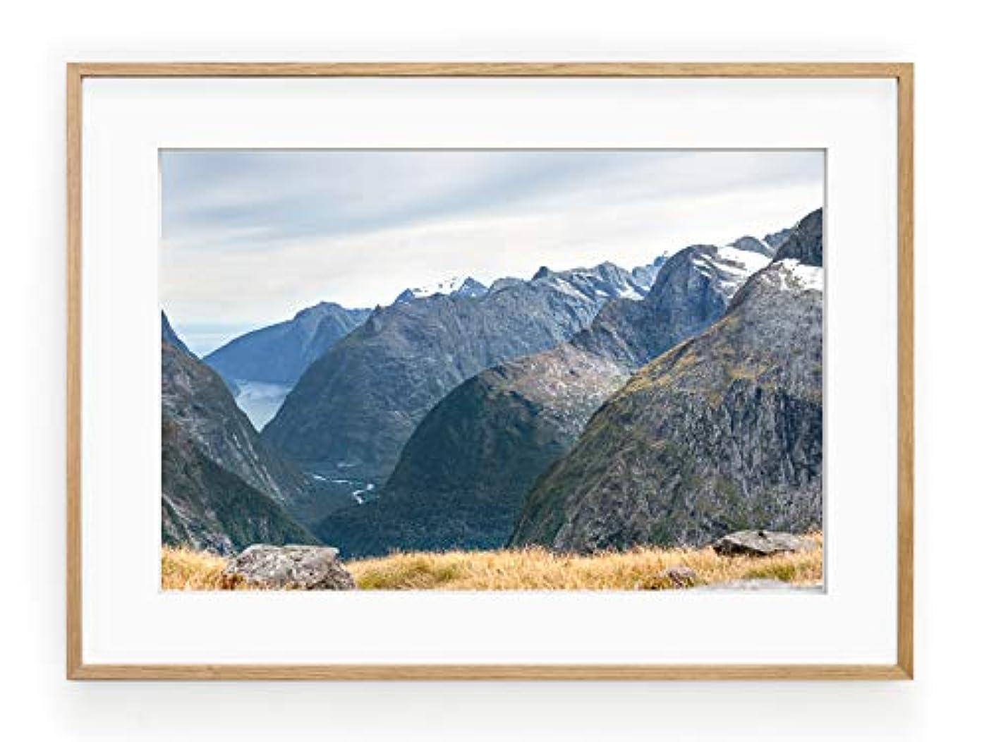 Fiordland New Zelander Black Satin Aluminium Frame with Mount, Multicolored, 50x70