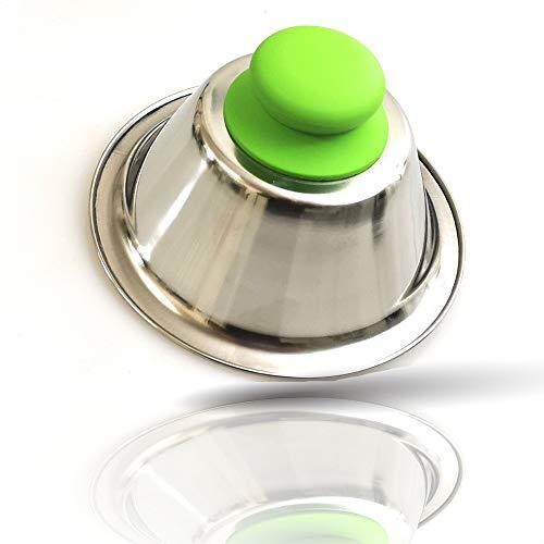 Kerafactum Cloche à hamburger - Cloche verte - Pour griller et fondre - Pour hamburger et steaks - Accessoire en acier inoxydable