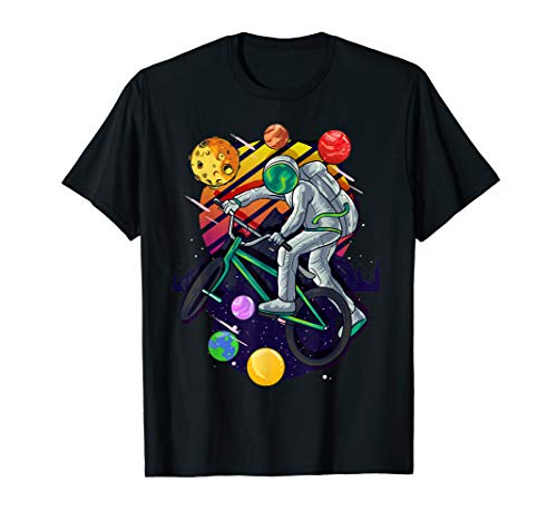 Solar System Astronaut Space on BMX Bike in Planets for Kids T-Shirt