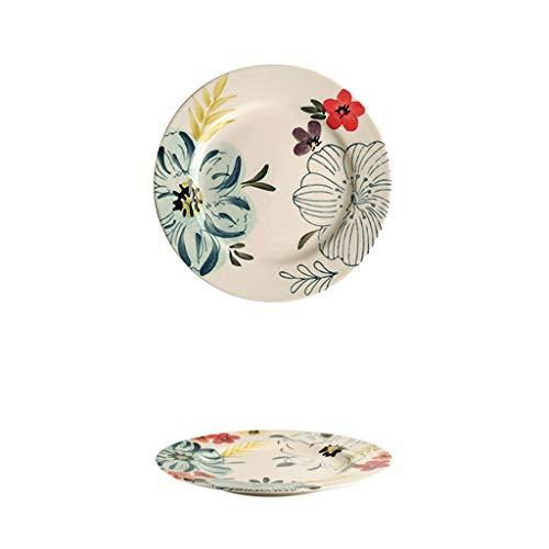LF- Keramisch tafelgerei plaat schotel plaat Startpagina Creative Net Rode fruitschaal Westelijk Voedsel Plate Dumpling Plate Makkelijk schoon te maken (Size : 14.5cm*14.5cm)