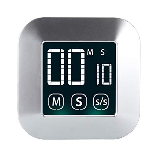 YCDZ Küchentimer, Magnetischer Countdown-LED-Digital-Timer, Kochtimer, Inkrement-Timer, Mit Alarm, Geeignet Für Heimfitness Im Klassenzimmer (Silber)