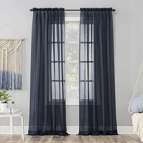 """No. 918 Emily Sheer Voile Rod Pocket Curtain Panel, 59"""" x 84"""", Navy Blue"""