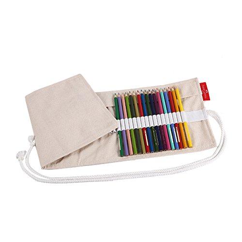 RONSHIN grote capaciteit Potlood Pen Case Bag Kleurrijke Grote Capaciteit Doek Effen Kleur Potlood Case Pouch Bag Gordijnen 50 stokjes