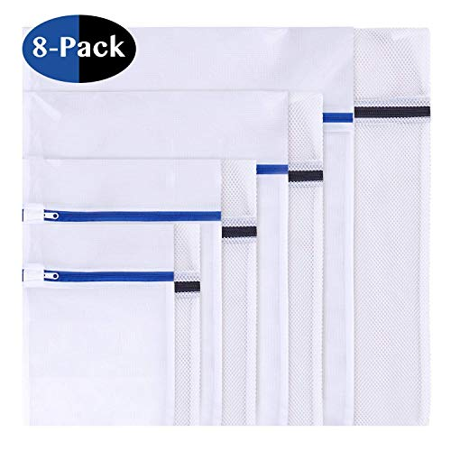 8 Stück Wäschenetz, Wäschesack Wäschetasche Set Waschbeutel für empfindliches, Bluse, Strumpfwaren, BH, Unterwäsche, Socken (feinmaschig & grobmaschig) mit Reißverschluss (8 set)