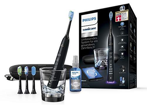 Philips Sonicare DiamondClean Smart Schallzahnbürste HX9924/13 mit 5 Putzprogrammen, 3 Intensitäten, Ladeglas, USB-Reiseetui & 4 Bürstenköpfen - schonendes Putzen dank Drucksensor – Schwarz