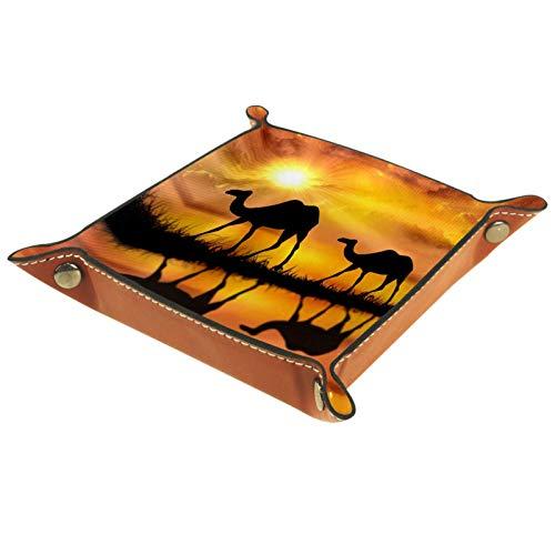 Valet Tray, PU Leder Catchall, Tray Organizer, Aufbewahrungsbox für Uhren Schmuckmünzen Key Wallet Schöne Sunset Camels Desert Oasis