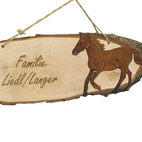 LiLa-Pferd Türschild/Boxenschild Holz mit Pferdemotiv und Gravur