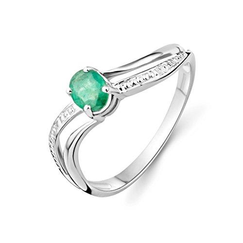 Miore Damen-Ring 375 weißgold mit Emerald MA938R