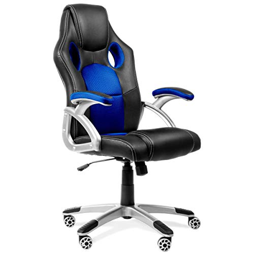 RACING - Silla gaming oficina color azul silla de escritorio racing ergonómica sillón de despacho giratorio con reposabrazos y altura regulable 65x54x120cm