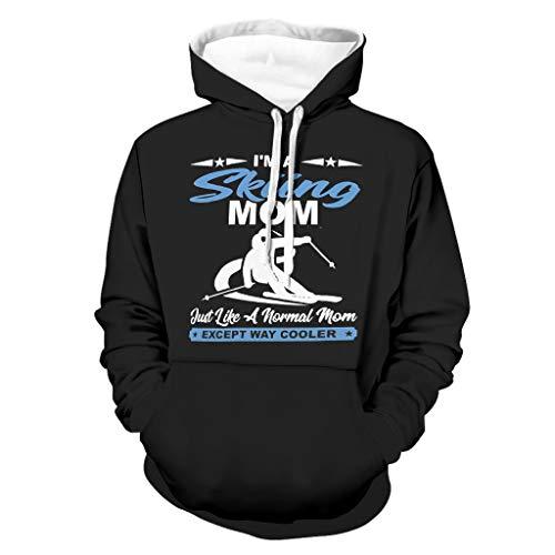 DAMKELLY Store Herren Skifahren Mom Skier Hoodies Retro mit Fronttasche schlank Hoodies White s