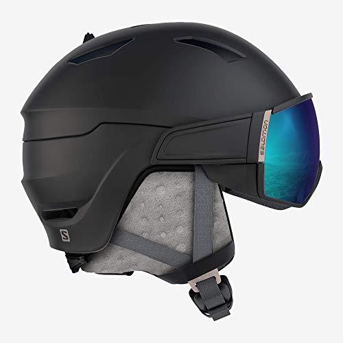 Salomon Damen Mirage S Ski- und Snowboardhelm, mit Visier, OTG-Lösung für Brillenträger, EPS 4D-Innenschaum, Kopfumfang 53-56 cm, schwarz (Black/Rose Gold), Größe S, L40537600