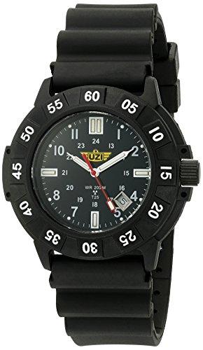 Uzi Men's UZI-001-R Protector Swiss Tritium Black Dial Black Band Watch