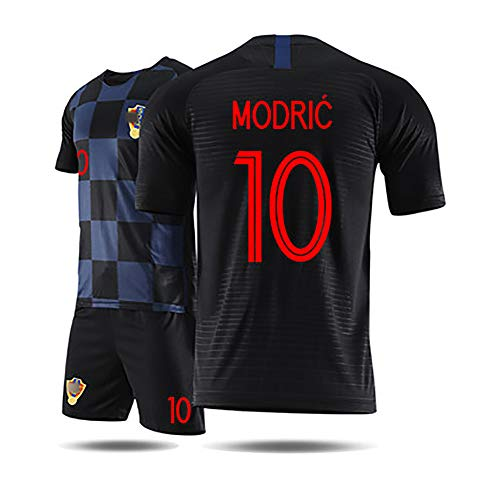 Kinder Fußballuniform 2018 Worild Cuo Kroatien Modric iersev, Erwachsene Kinder Bovs Fußball Jersev Kits Fußball Trikot T-Shirt und Shorts Team Trainingsuniformen-10#black-18