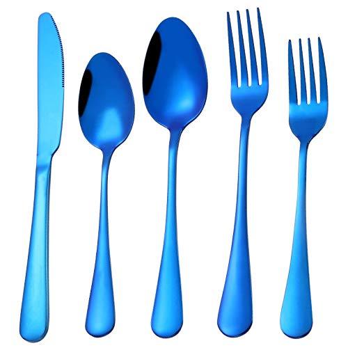 Juego de cubiertos de 4 piezas de cubiertos de acero inoxidable, utensilios de acero inoxidable, cubiertos de metal plateado, juego de cubiertos reutilizables de acero inoxidable(B)
