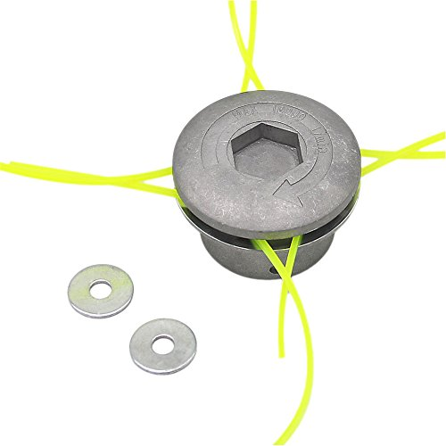 SWNKDG Aluminium Fadenkopf Rasentrimmer Kopf Doppelfadenkopf Fadenspule Nylonfaden für Benzin Motorsense Rasentrimmer