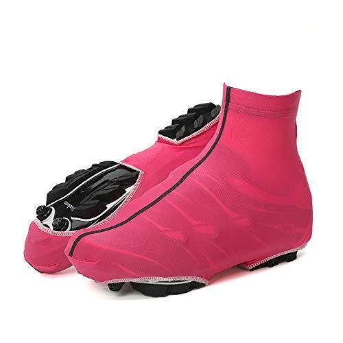 PQXOER Fahrrad-Überschuhe, mehrfarbig, für Mountainbike, Fahrrad, warm, wasserdicht, winddicht, Regen-/Schneeschuhschutz, Überschuhe für Herren und Damen, Fahrradzubehör (Farbe: Rot, Größe: L)