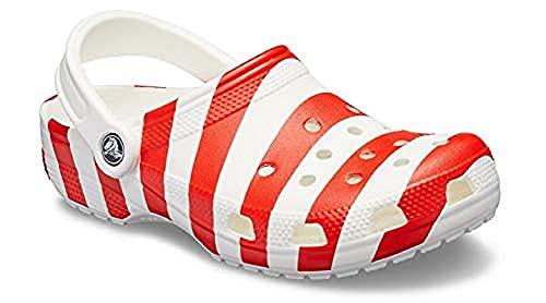 Crocs Unisex-Adult Classic American Flag 4th of July Clogs, White/Multi, 7 Women/5 Men