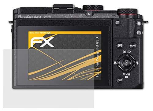 atFoliX Panzerfolie kompatibel mit Canon PowerShot G3 X Schutzfolie, entspiegelnde & stoßdämpfende FX Folie (3X)