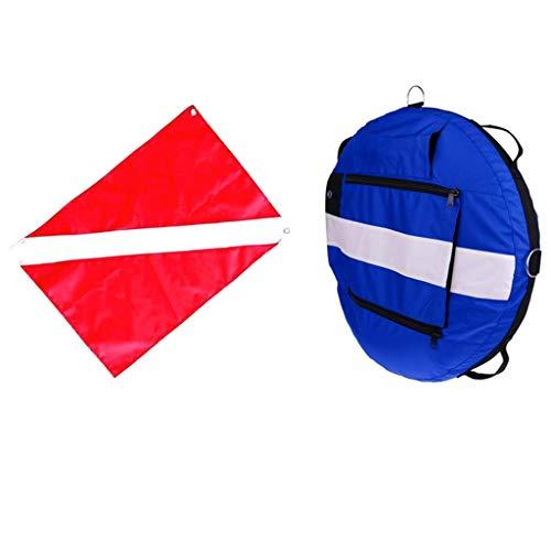 lahomia Boya de Apnea con Bandera de Buceo para Buceo, Pesca Submarina, Snorkel - Azul