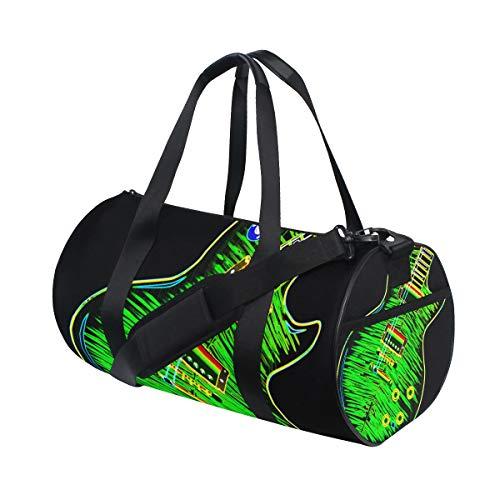 ZOMOY Sporttasche,Definitiver Rock Roll Gitarren Neon Style,Neue Druckzylinder Sporttasche Fitness Taschen Reisetasche Gepäck Leinwand Handtasche