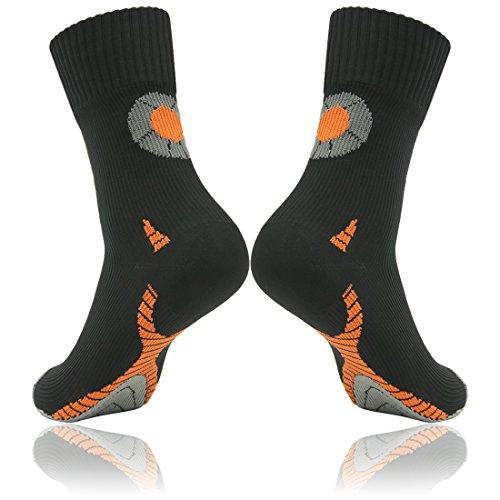 RANDY SUN Womens' Elite Crew Dri-Fit Basketball Sock Half Cushion Quarter Socks in Hiking Outdoor Cycling Black Orange