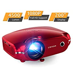 """【Cinema Like Home Theater Projector】Crenova XPE500 mini projector supports 1080P Full HD video with native 720P resolution (1280 x720), authentic 4500-lumen brightness and 3000:1 contrast ratio. 33""""~200"""" movie projector screen size and 3.7~19.7ft vie..."""