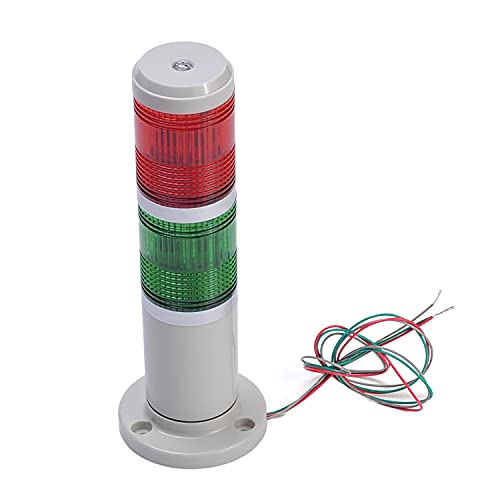 Othmro Warning Light Bulb Industrial Signal Tower Lamp Plastic Electronic Parts Red Green Always on Light No Sound 24V 3W 1PCS