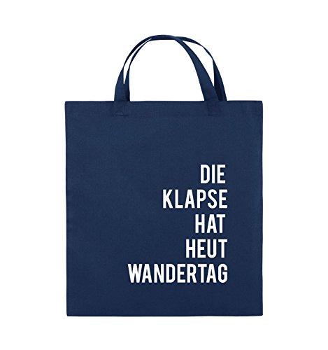 Comedy Bags - DIE Klapse HAT HEUT Wandertag - Jutebeutel - Kurze Henkel - 38x42cm - Farbe: Navy/Weiss