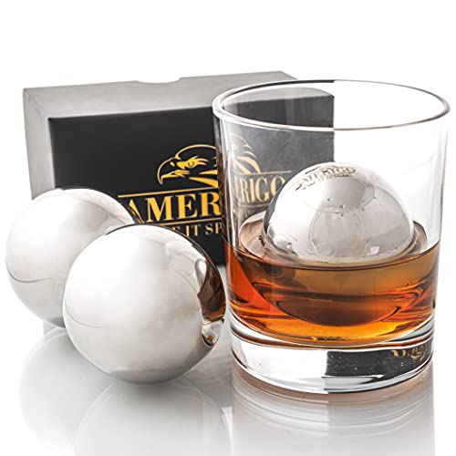 Whiskey Gifts for Men, Whiskey Stones Set of 2 Stainless Steel Ice Balls, Bar Accessories, Birthday...