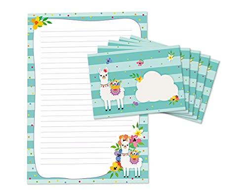 Briefblock mit Umschlag für Kinder Lama Briefpapier-Set LINIERT (Block A4 mit 25 Blätter + 15 Umschläge)