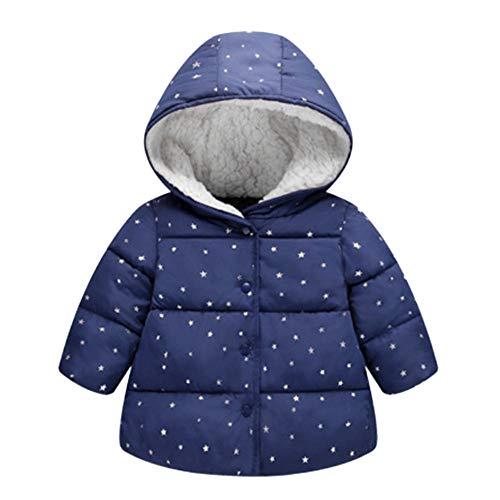 Hirolan Coat Mäntel Jacke Kinder Mädchen Oberbekleidung mit Kapuze Winterjacke Mode Chic Sterne Mantel Tuch Jacket Daunenjacke Herbst Winter Mit Kapuze Casual Outwear Mantel (Blau, 110)