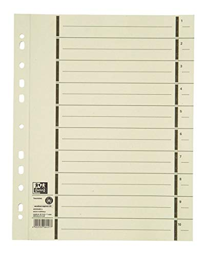 Oxford Karton-Register überbreit, Trennblätter A4, volle Höhe, chamois, 100er Pack