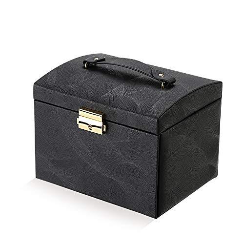 Joyero organizador tipo cajón escritorio cosmético joyería caja de almacenamiento collar pulsera pendiente titular negro