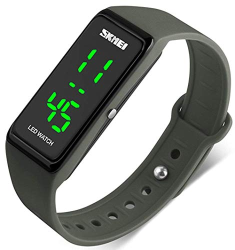Unisex Square Large Face LED Digital Watch Electronic for Men Watch for Women Student Silicone Watches (Green Rectangle)