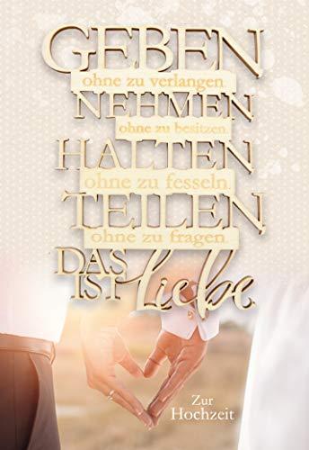 Hochzeitskarte, Glückwunschkarte Hochzeit, mit Holzanhänger, ohne Innentext, im Format DIN B6 176 x 125 mm, Karten inkl. Umschlag, Motiv: Spruch