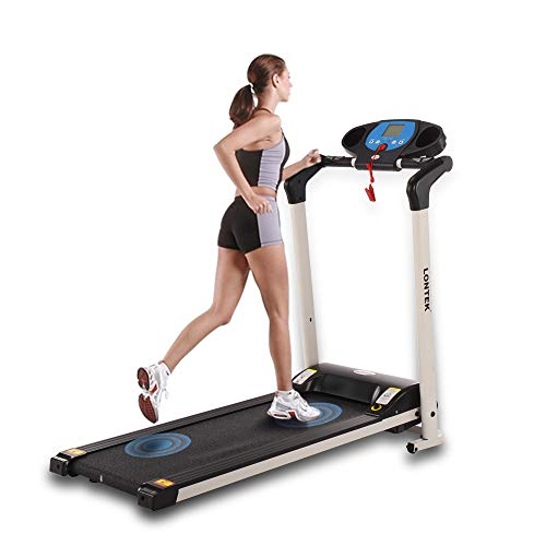 UMAY Folding ELectric Treadmill for Small Space, Portable Running Machine with LCD Displace & Cup or Stuff Holder Easy Assembly 12 Preset Programs for Home/Office