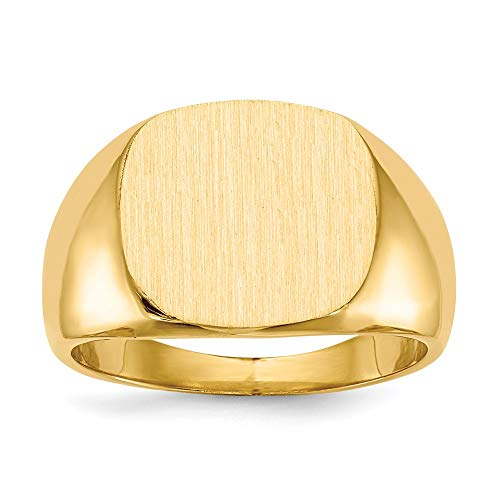 14k Yellow Gold 15.5x14.0mm Closed Back Mens Signet Band Ring Size 10.00 Man Fine Jewellery For Dad Mens Gifts For Him