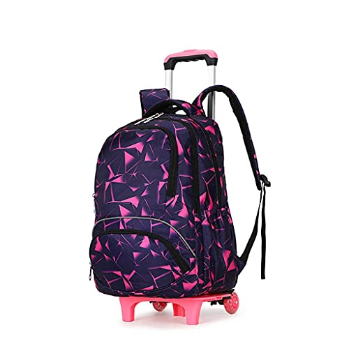 Zaino per bambini con 6 ruote, zaino per la scuola, zaino multifunzione, borsa per la scuola, per il lavoro, per ragazze e ragazzi, Color A, 34cm x 23cm x 49cm,